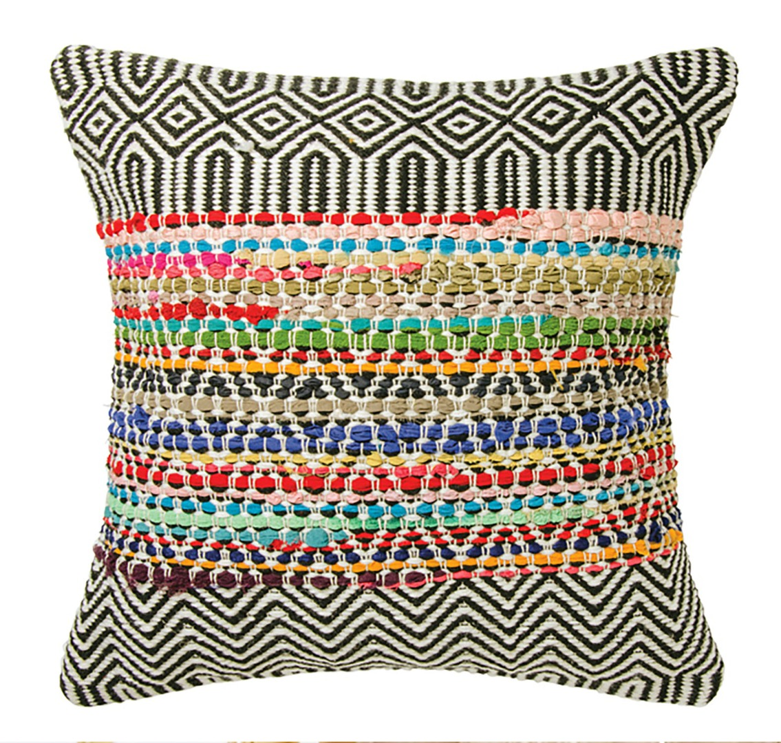 Fair Trade Colourful Handloomed Recycled Indoor/Outdoor PET Cushion in 2 sizes