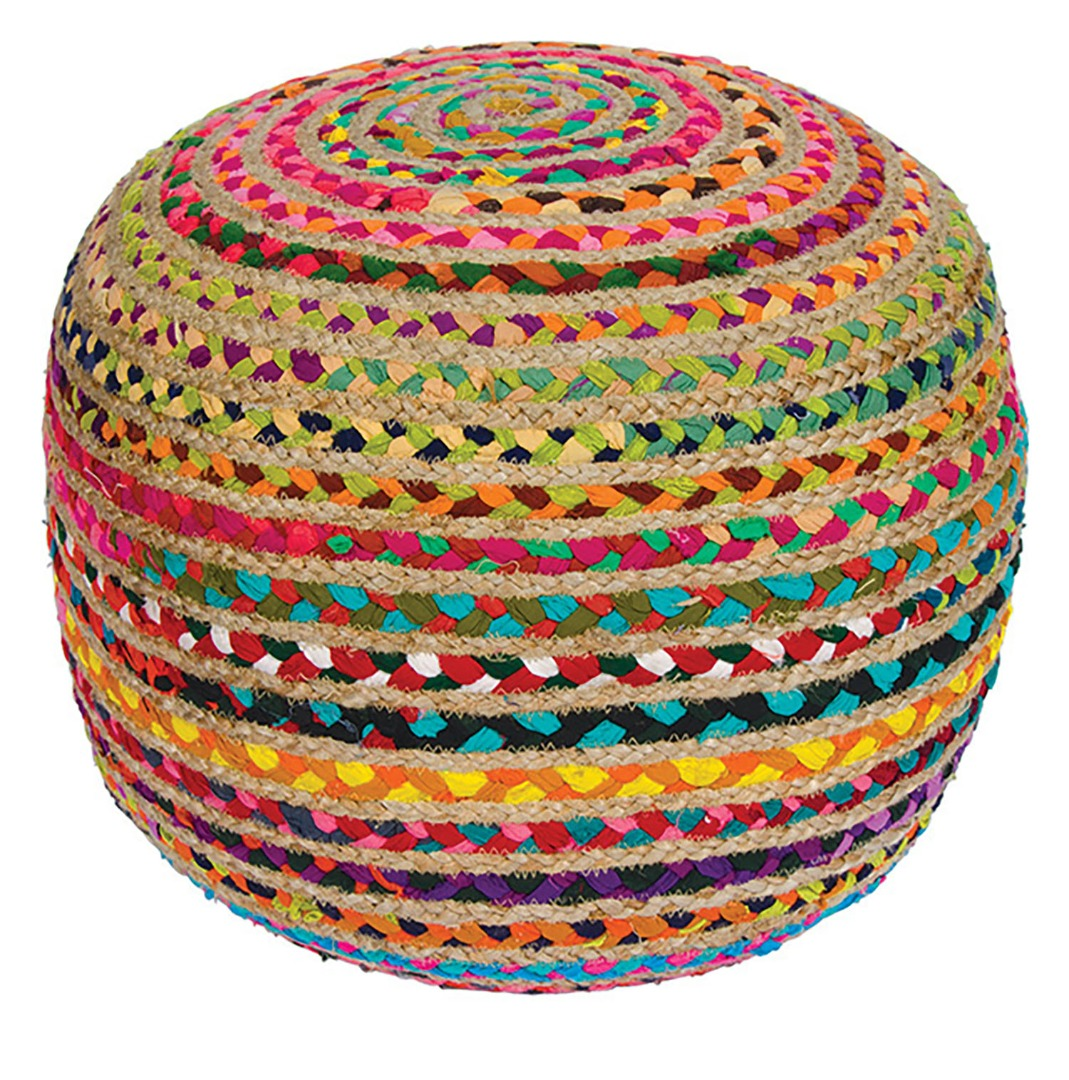 Traditional Handloomed Cotton Chindi and Jute Pouffe, Foot Stool Seat  50cm x 50cm x 40cm