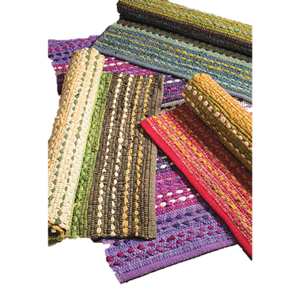 Rectangle shaped bright textured multi-coloured recycled cotton chindi Rugs
