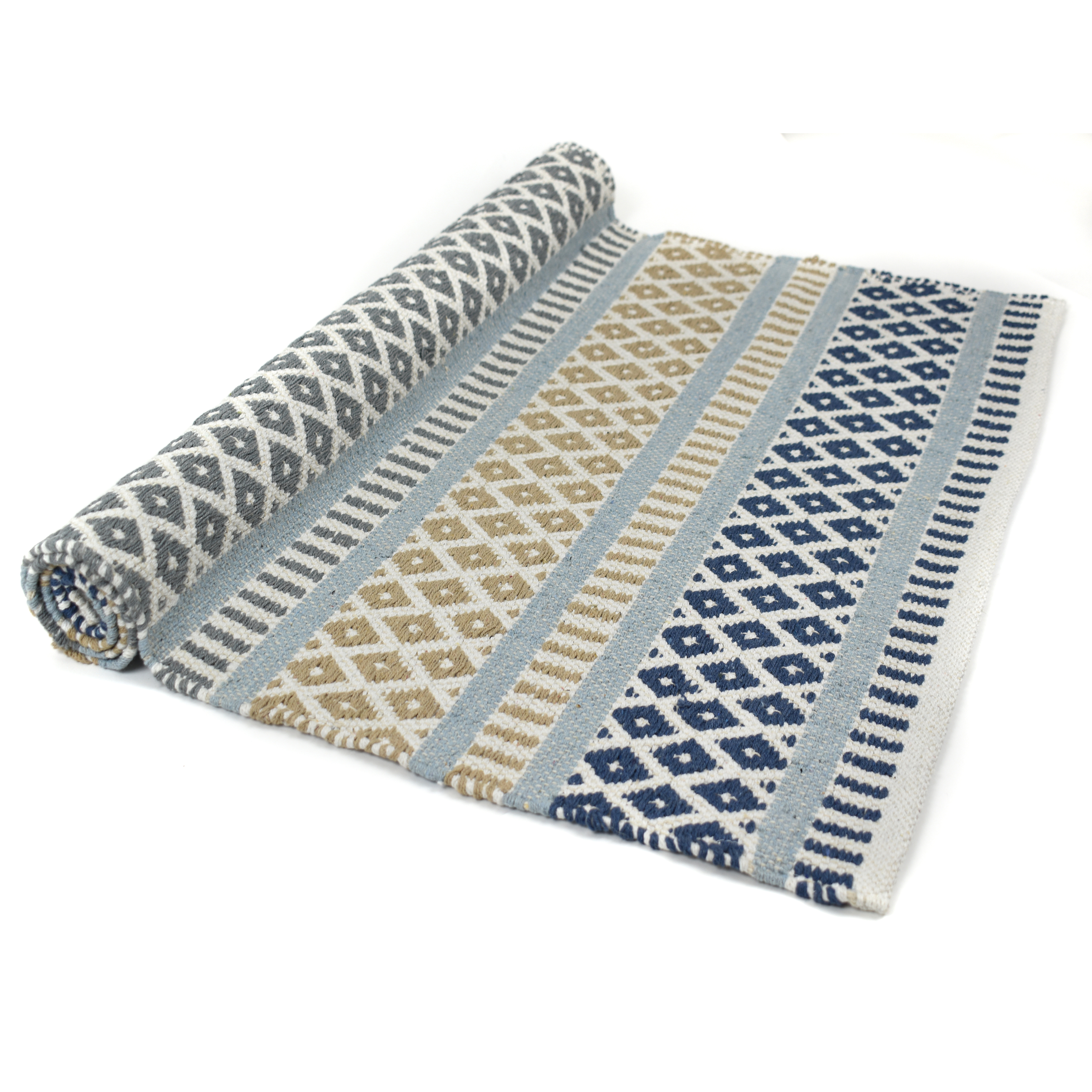 Navy, Tan, Grey Aztec patterned Rug with Duck Egg Blue stripe Size: 70cm x 120cm