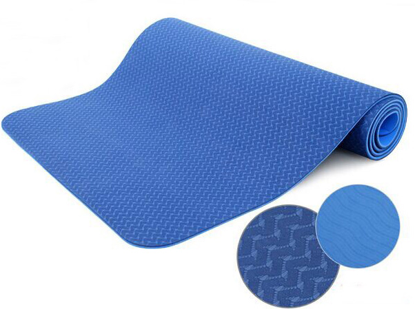 BLUE Eco-friendly TPE yoga mat Pilates