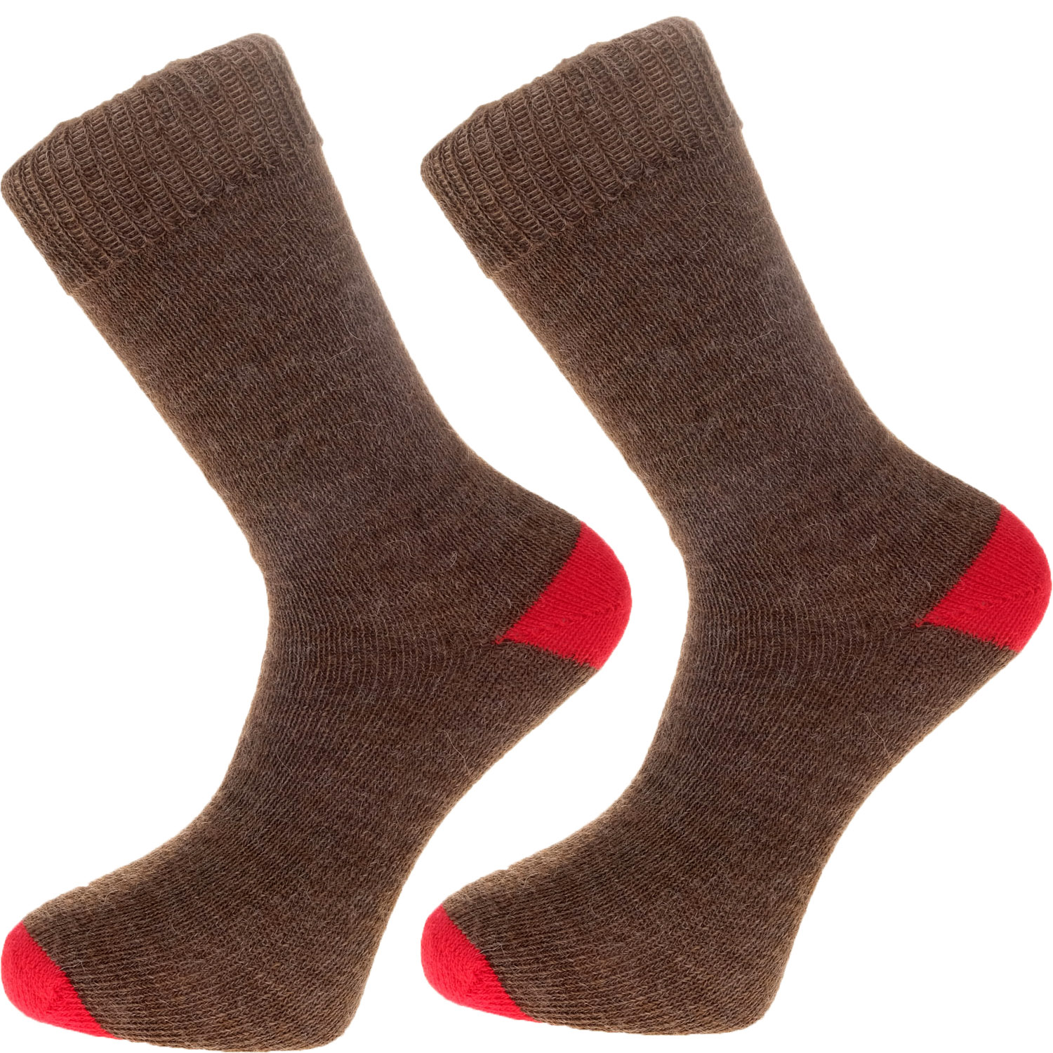 The Alpaca Every Day Heel and Toe Contrast Socks Brown/Red
