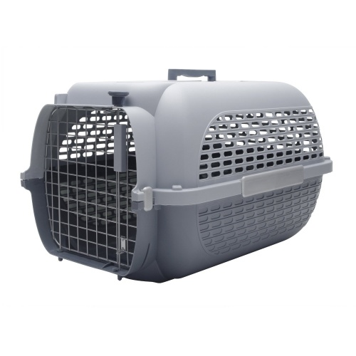 GREY PET CARRIER TRAVEL BASKET CRATE CARRY HANDLE & DOOR CAT DOG RABBIT PLASTIC (X Large)