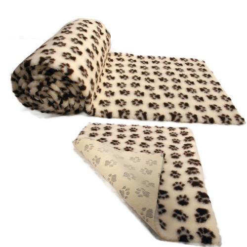 Cream Brown Paws Vet Bedding NON-SLIP ROLL WHELPING FLEECE DOG PUPPY PRO BED