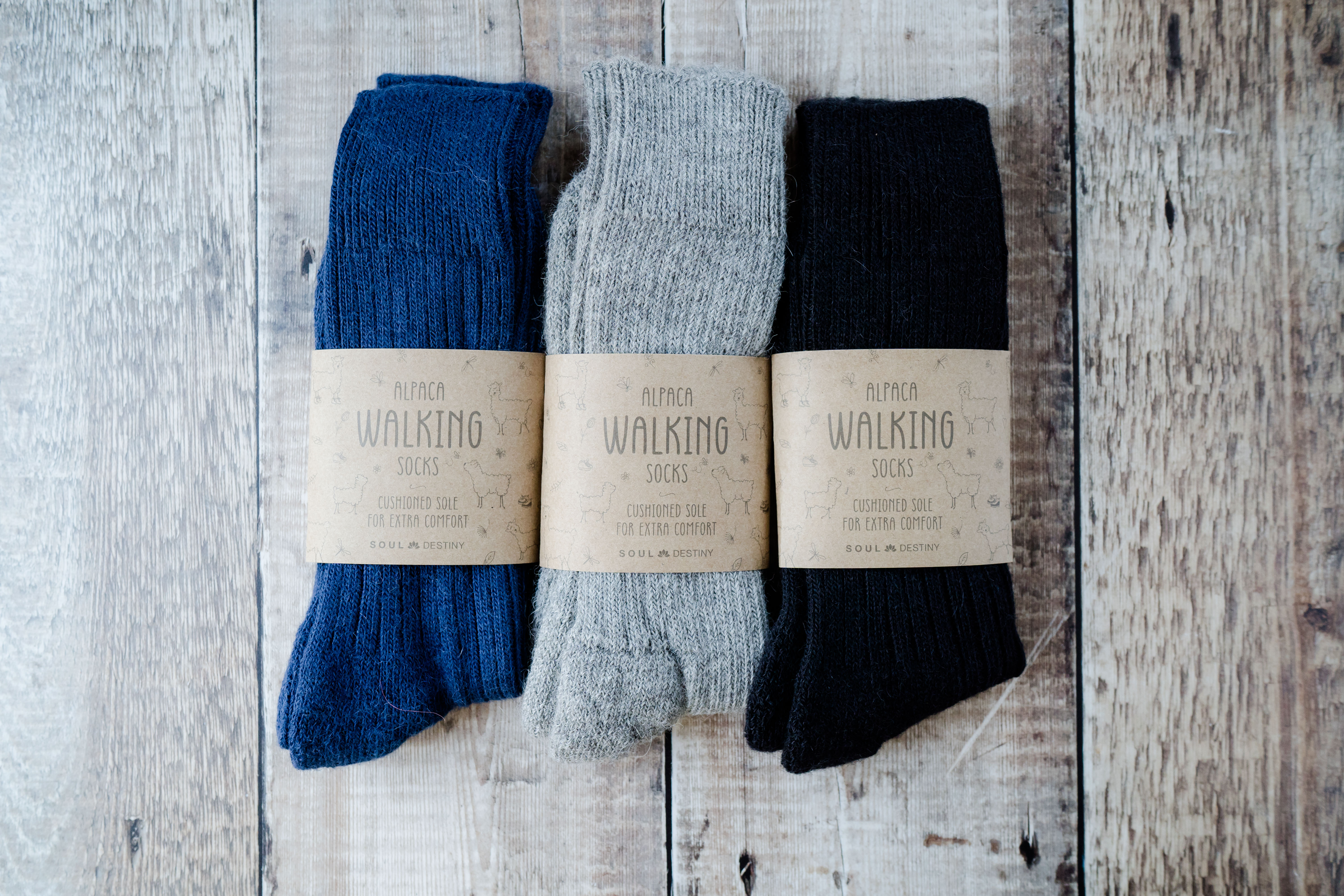 Gift Pack Idea E  3 pairs of Alpaca Walking Socks, Cushioned Sole,  75% Alpaca Wool. Alpaca Sock
