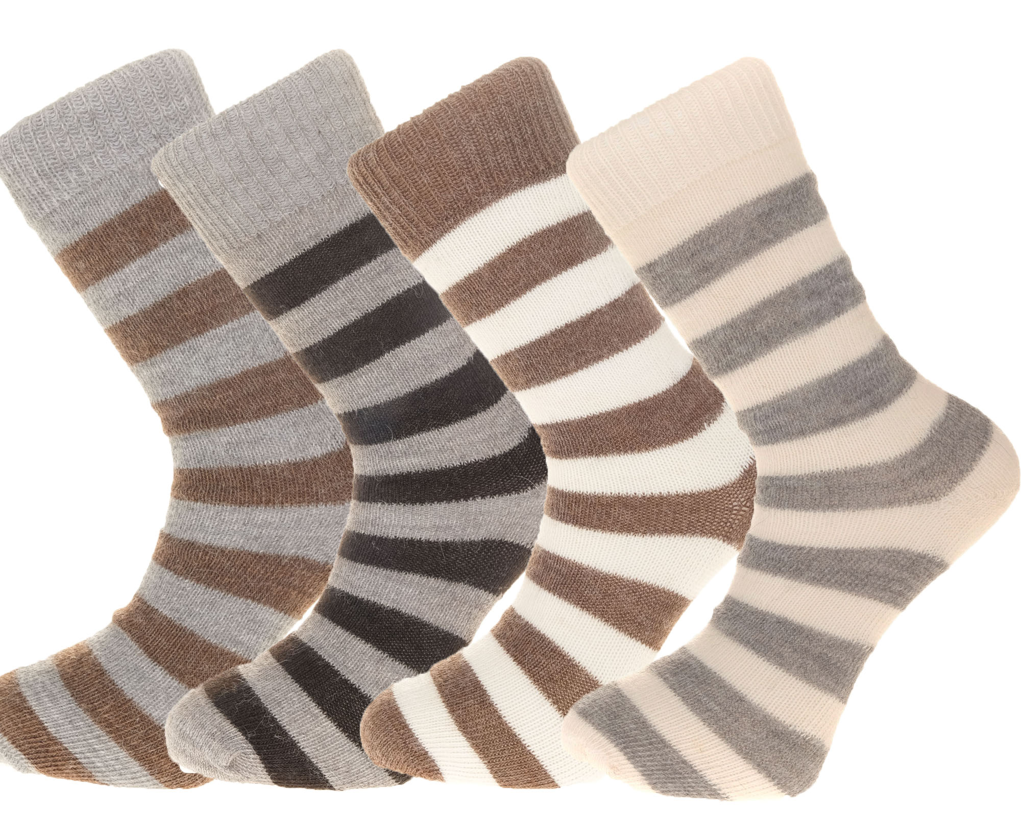 Gift Pack Idea N 4 pairs of Alpaca Striped Socks, 55% Alpaca Wool.  Alpaca Sock