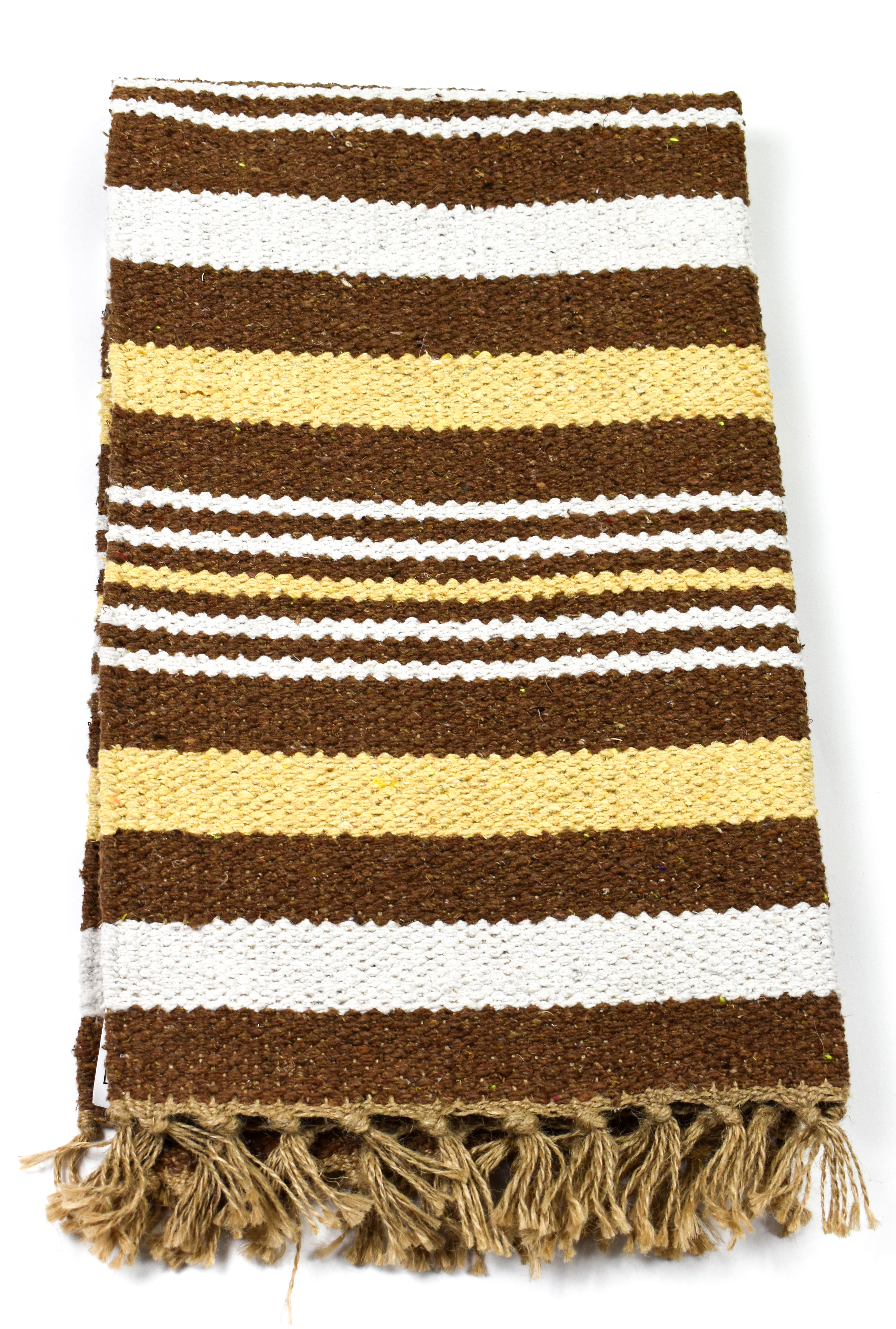 Cotton Jute Brown Tone Rug Brown Stripe 5 Sizes Fair Trade