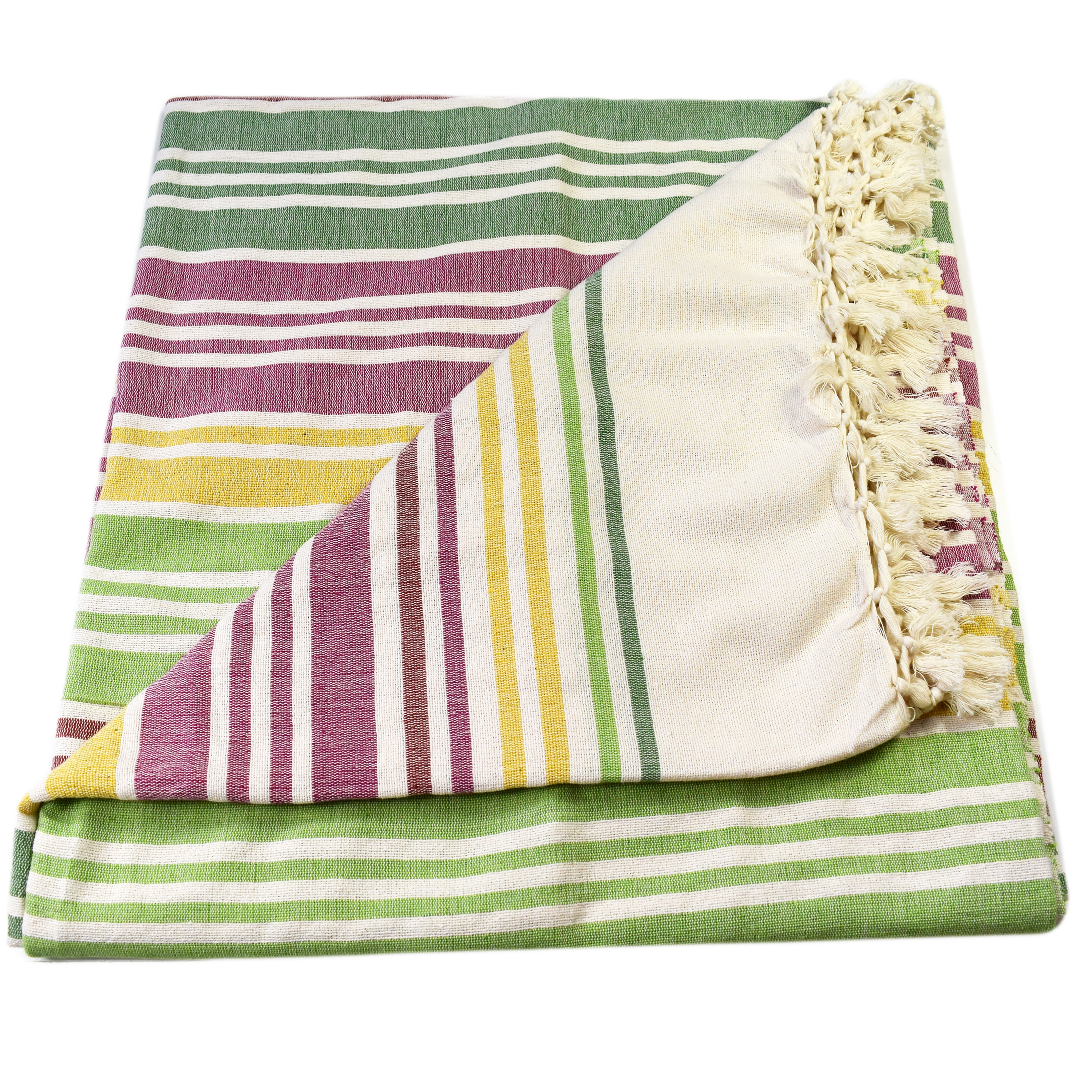 Tara Extra Large Striped Slub Bedspread Throw