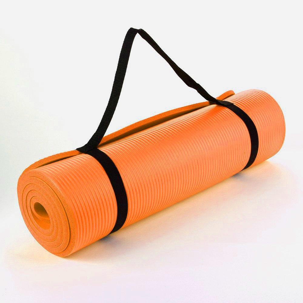 Orange 15mm Nbr Yoga Mat Thick Yoga Mat Size 15mm X 60cm X 190cm Long For Comfort