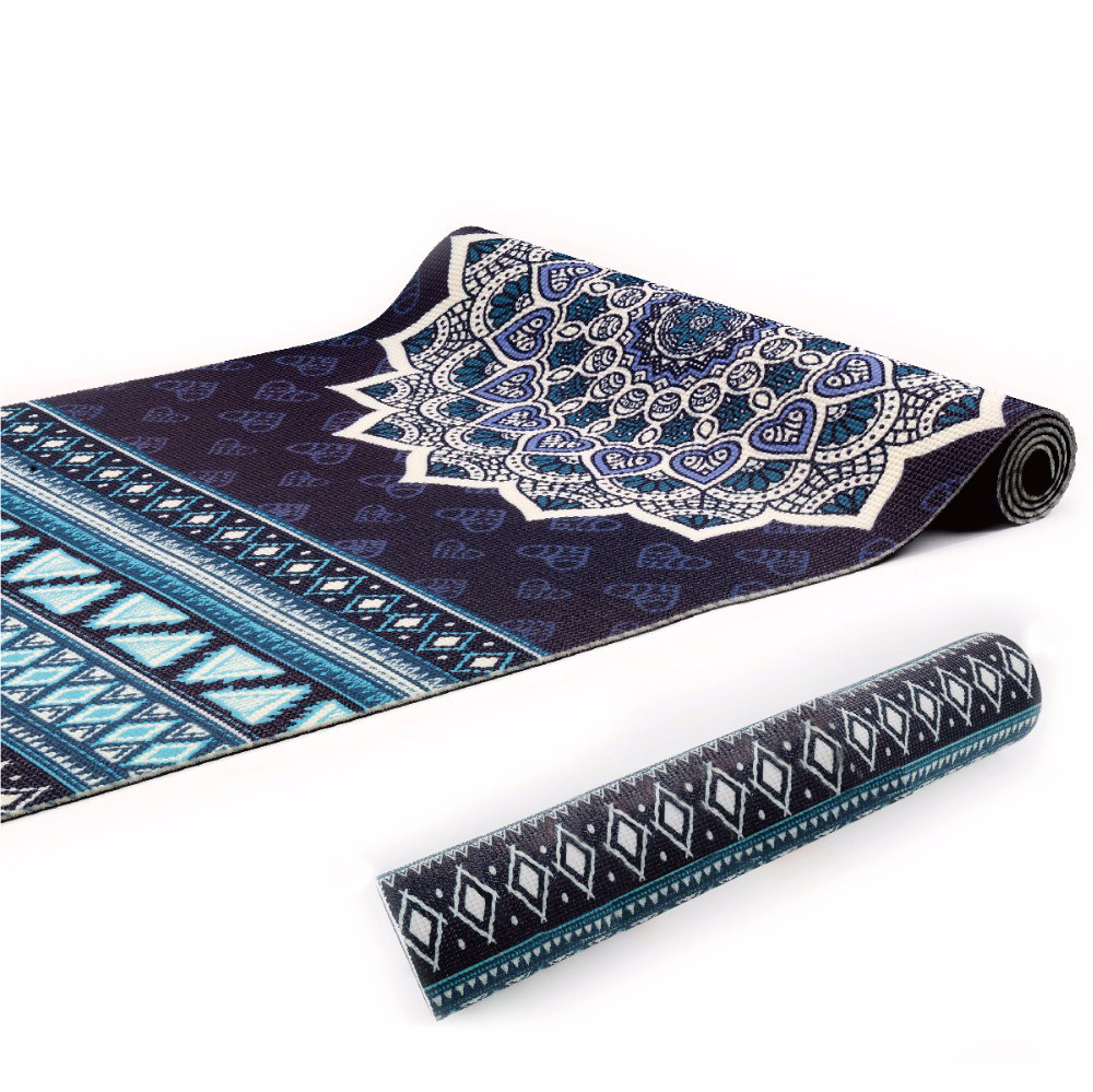 Navy Aztec Design 6mm PVC Superior Grip Sticky Mandala Yoga Mat