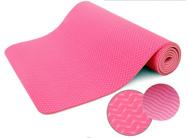 PINK  Eco-friendly TPE yoga mat Pilates