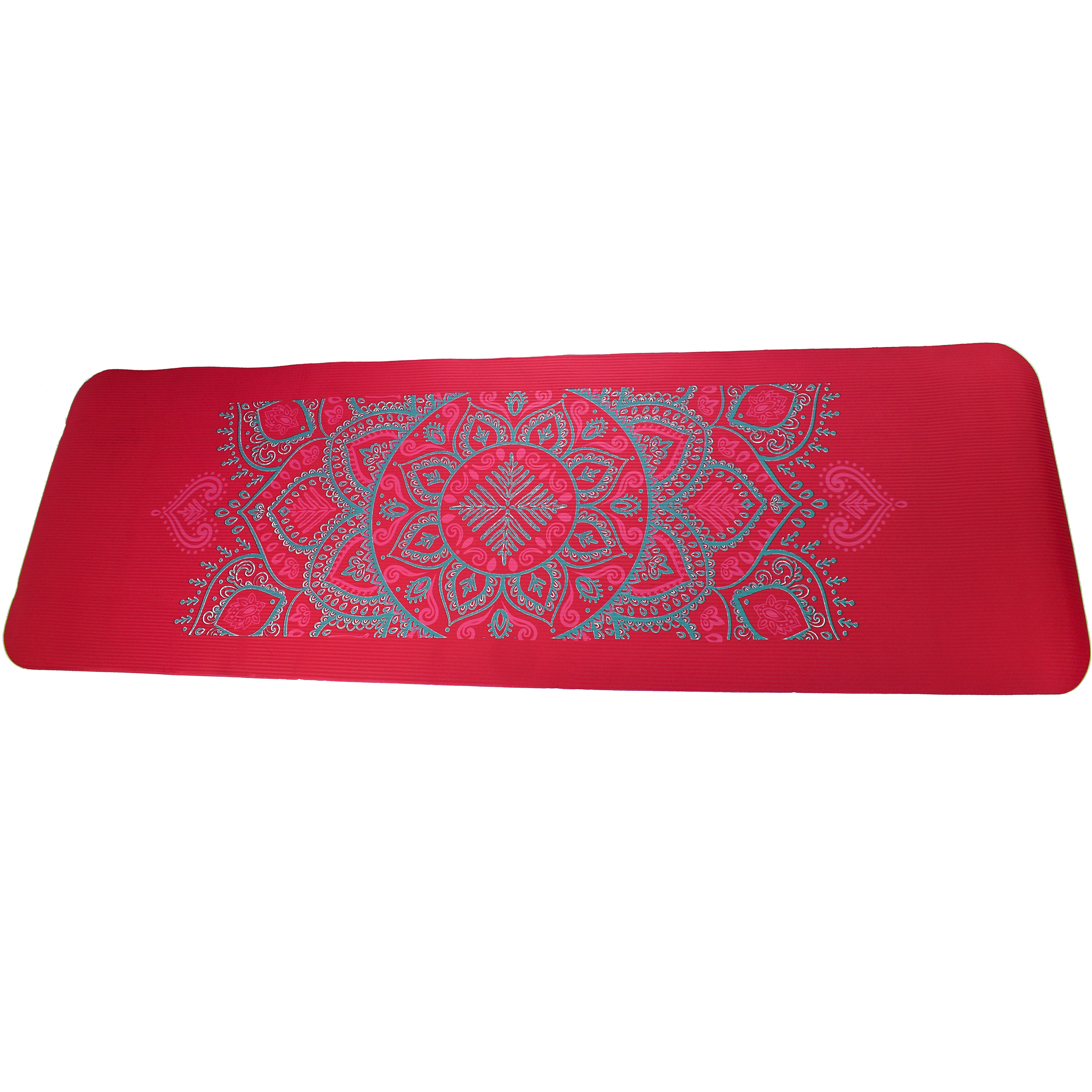 Pink NBR Mandala 12mm Thick Exercise Fitness Gym Yoga Mat 183cm x 61cm