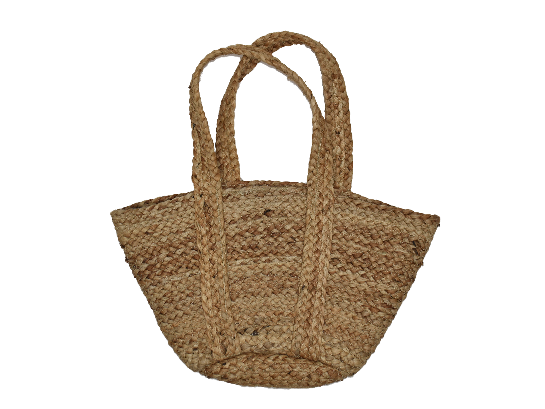 Small natural jute bag with handles, 30cm x 20cm