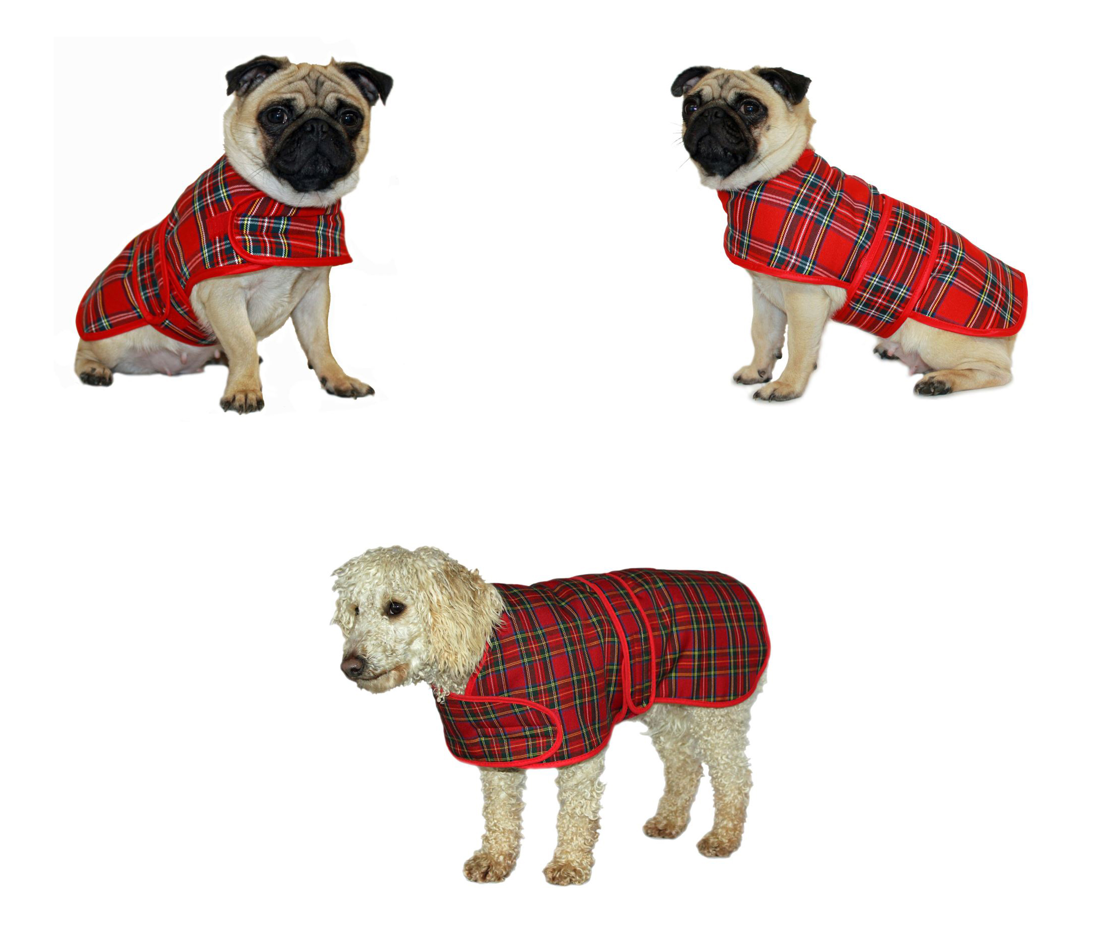 Red Tartan Highland Warm Dog Coat Jacket Easy Fasten Velcro
