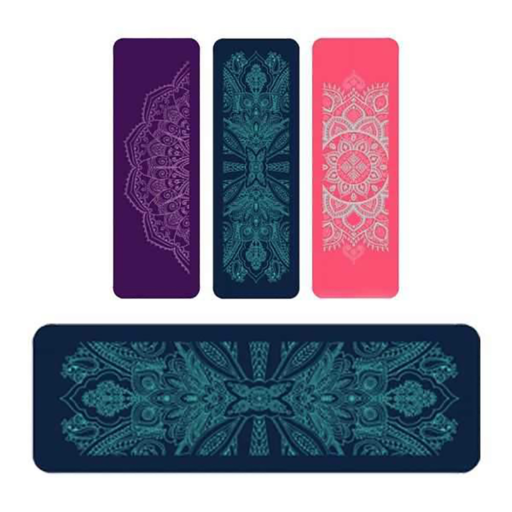 Teal Blue NBR Mandala 12mm Thick Exercise Fitness Gym Yoga Mat 190cm x 61cm