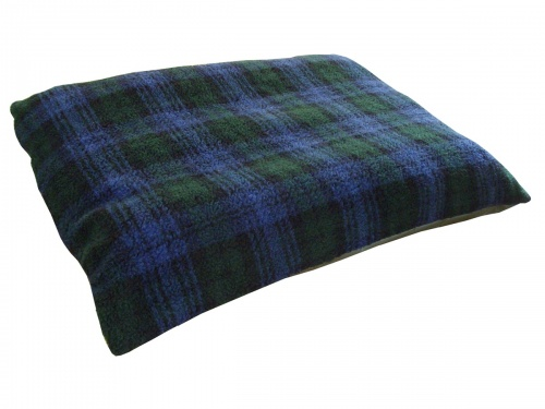Blue Tartan Soft Fleece Dog cushion Bed with waterproof base