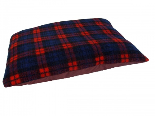 Red Tartan Soft Fleece Dog cushion Bed with waterproof base