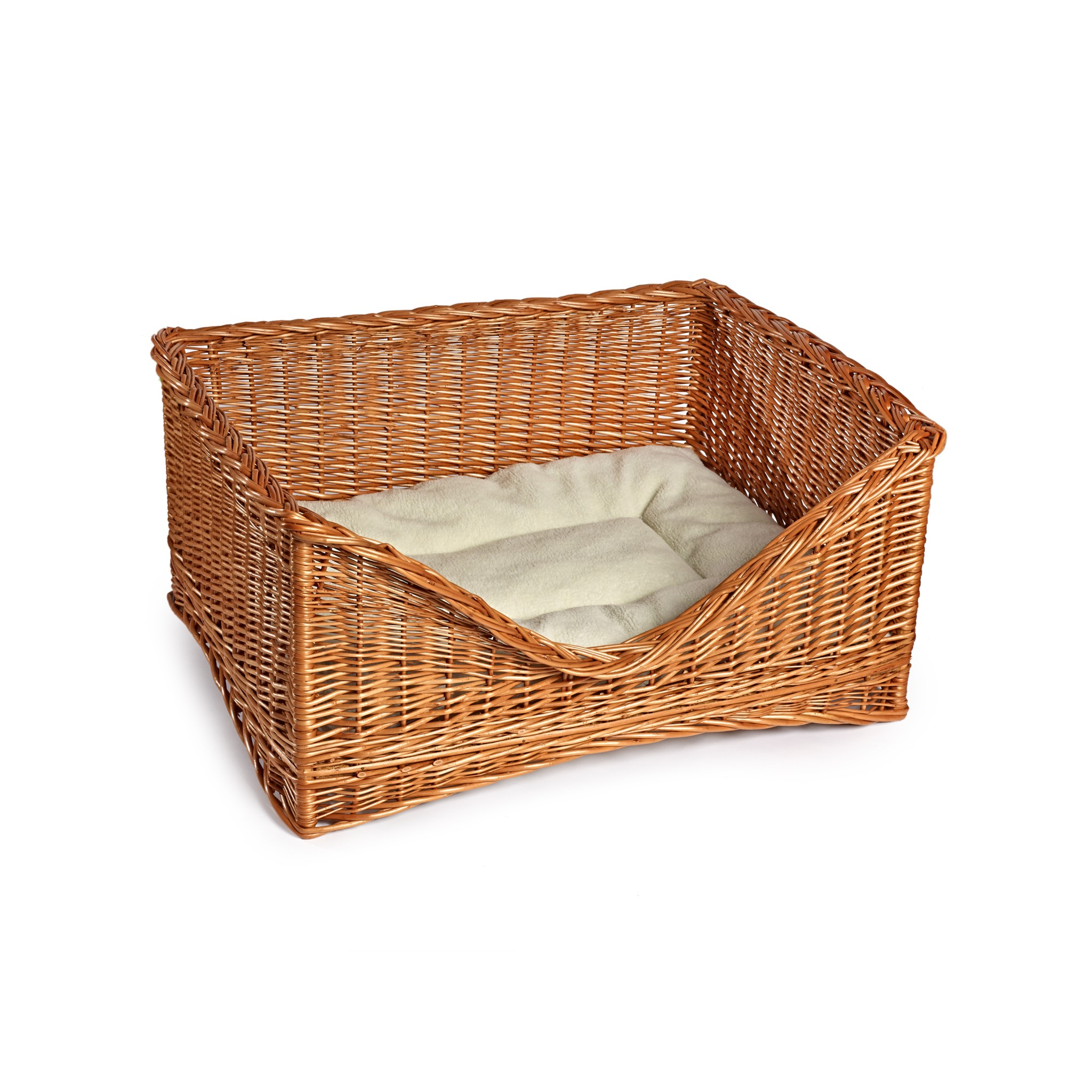 RECTANGLE WICKER DOG BASKET BED HIGH QUALITY SMALL MEDIUM LARGE HAND CRAFTED