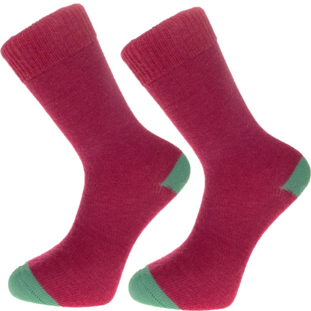 The Alpaca Every Day Heel and Toe Contrast Socks Raspberry/Pea