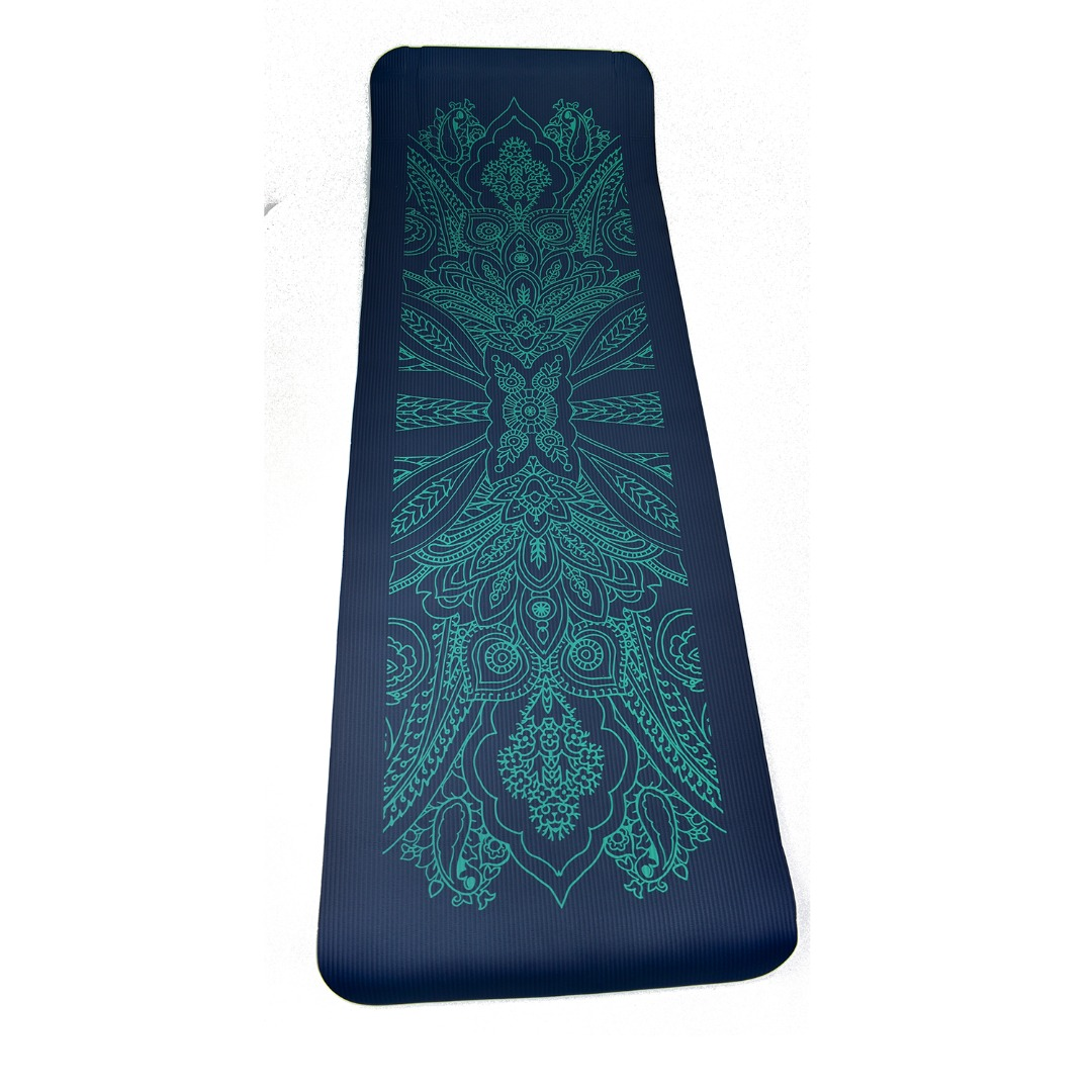 Teal Blue NBR Mandala 12mm Thick Exercise Fitness Gym Yoga Mat 183cm x 61cm