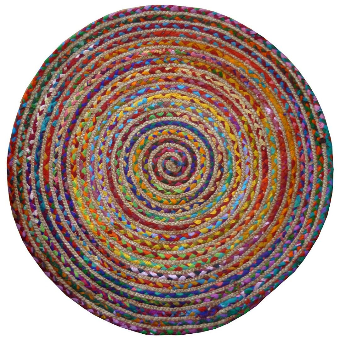 ROUND MULTI COLOUR COTTON / JUTE BRAIDED RAG RUG RECYCLED MATERIALS FAIR TRADE GoodWeave