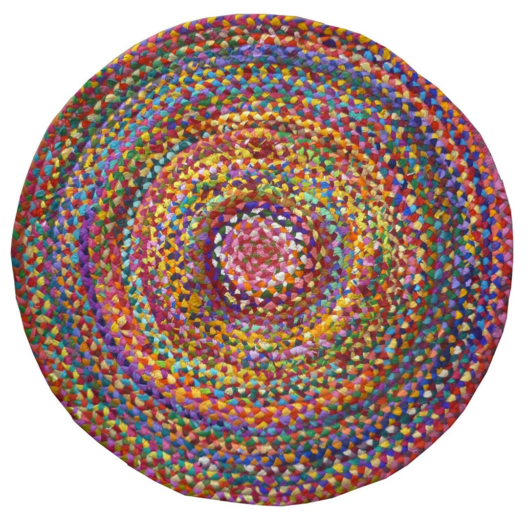 Round Braided recycled  Multi Colour Chindi Cotton Rugs GoodWeave