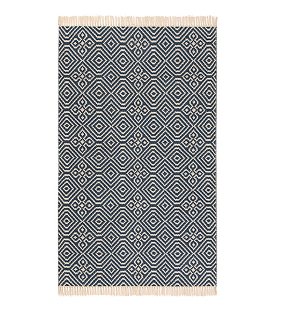 Diamond Pattern Kilim Recycled PET Yarn Rug  3 sizes Indigo Fair Trade