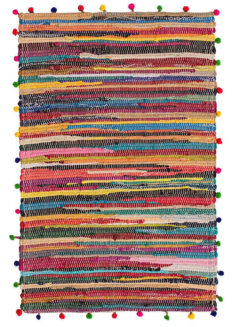 Rectangle Pom Pom Recycled Rag Rug dimensions of 90cm x 60cm.