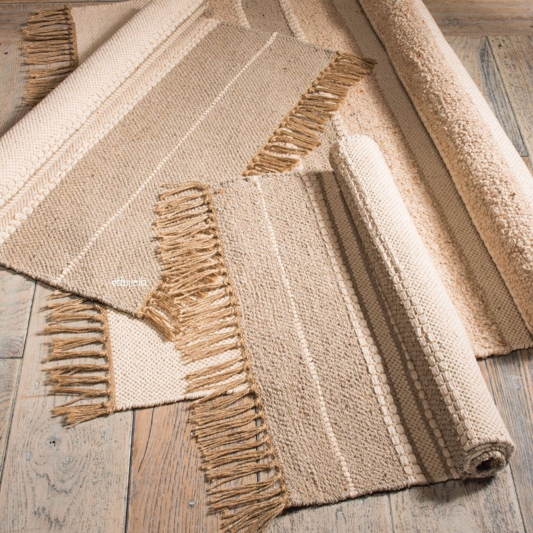 Slubweave Cotton rug made from 70% cotton and 30% jute. Fair Trade