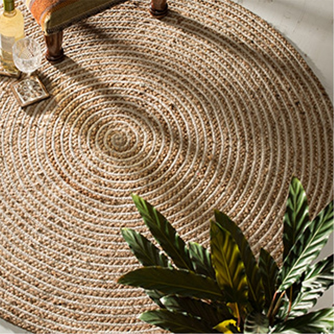 Large Round Natural 100% Braided Jute and Cotton Rug  Fair Trade
