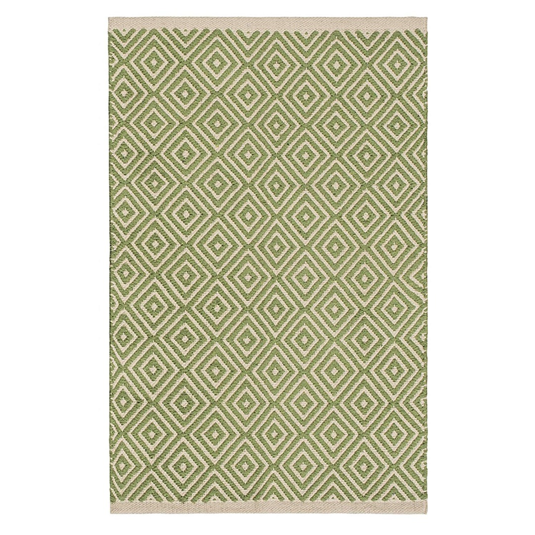 Sage Green Diamond Weave Cotton Handloom Rug  Handmade In India
