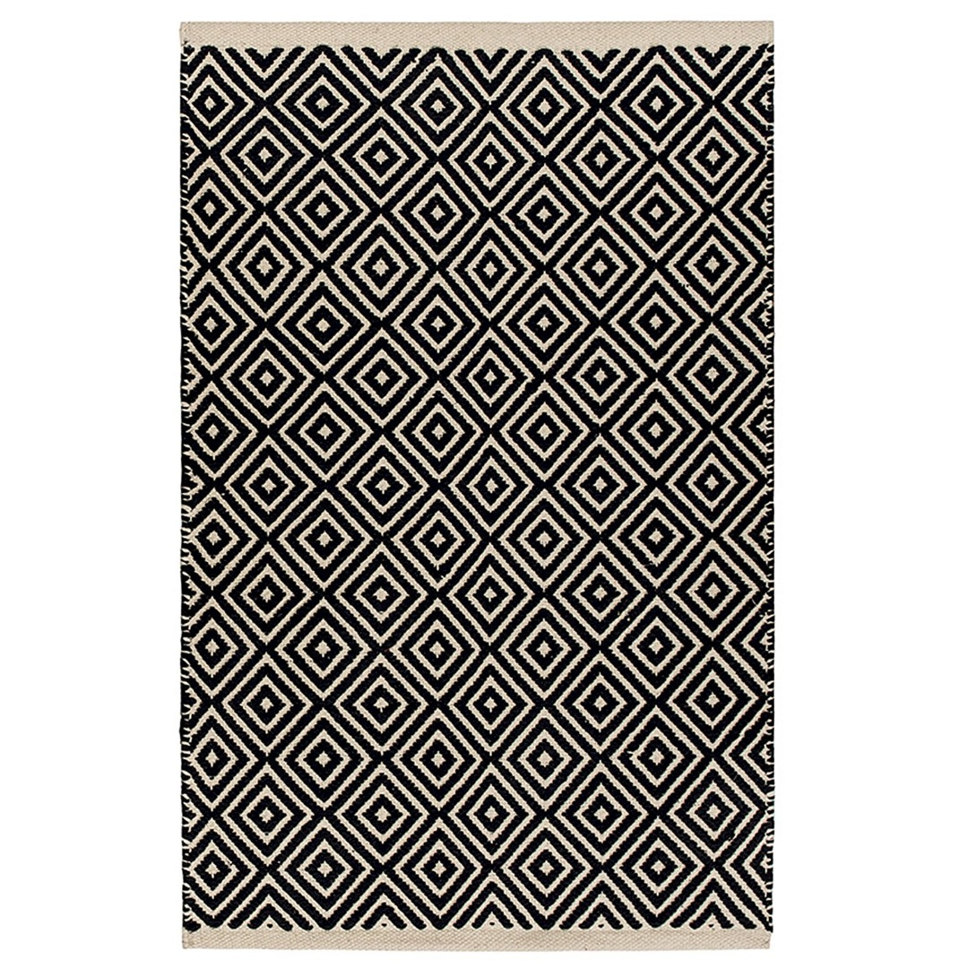 Black Diamond Weave Cotton Handloom Rug  Handmade In India