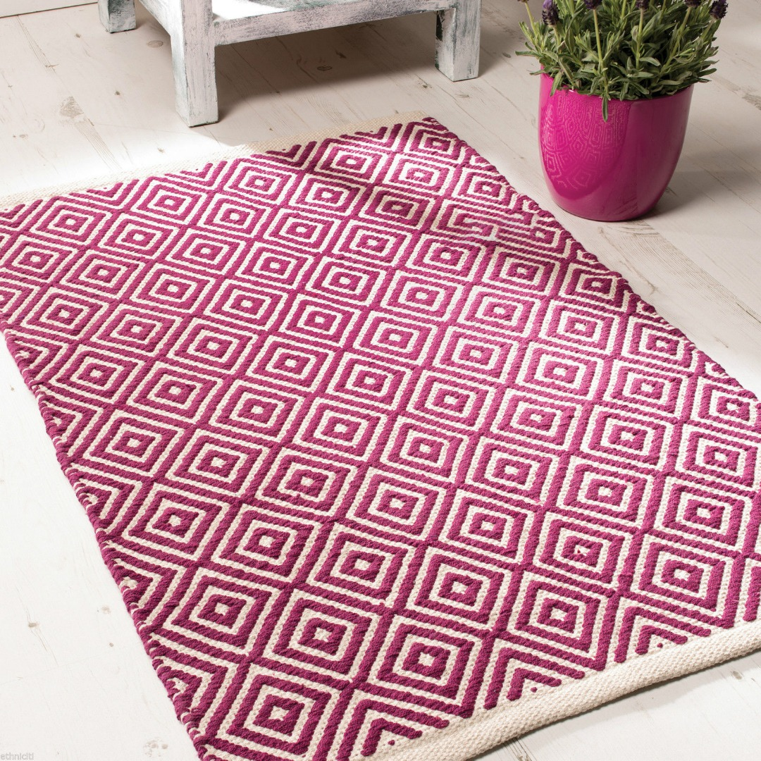 Purple Diamond Weave Cotton Handloom Rug  Handmade In India