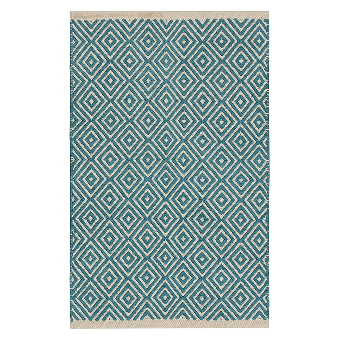 Turquoise Diamond Weave Cotton Handloom Rug  Handmade In India