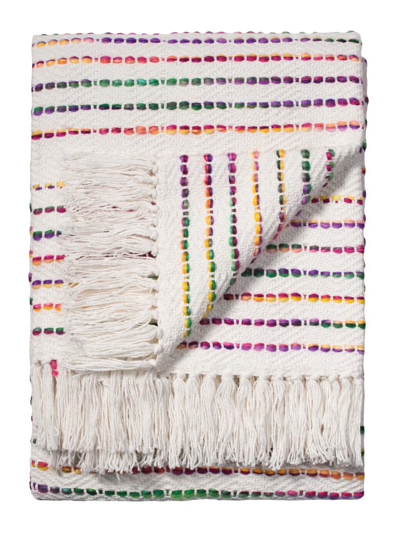 Rainbow White and Bright Multi Coloured Cotton Handloom Blanket Throw  Made in India