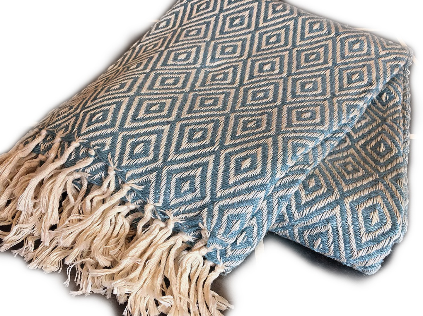Turquoise Diamond Weave Recycled PET Yarn Blanket Throw