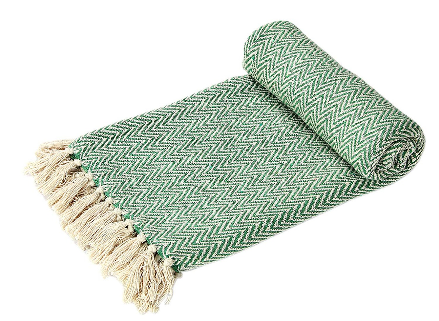 Sage Chevron Soft Cotton Handloom Blanket Throw