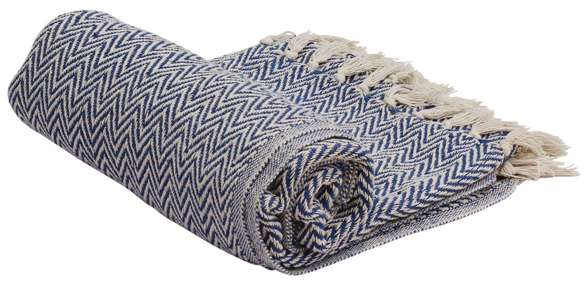 Blue Chevron Soft Cotton Handloom Blanket Throw