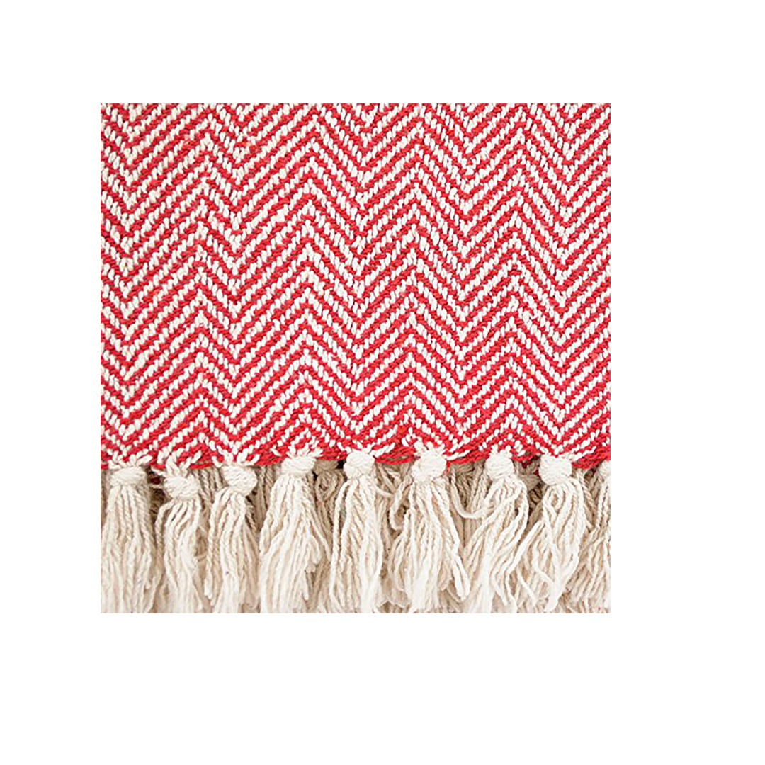 Red Chevron Soft Cotton Handloom Blanket Throw
