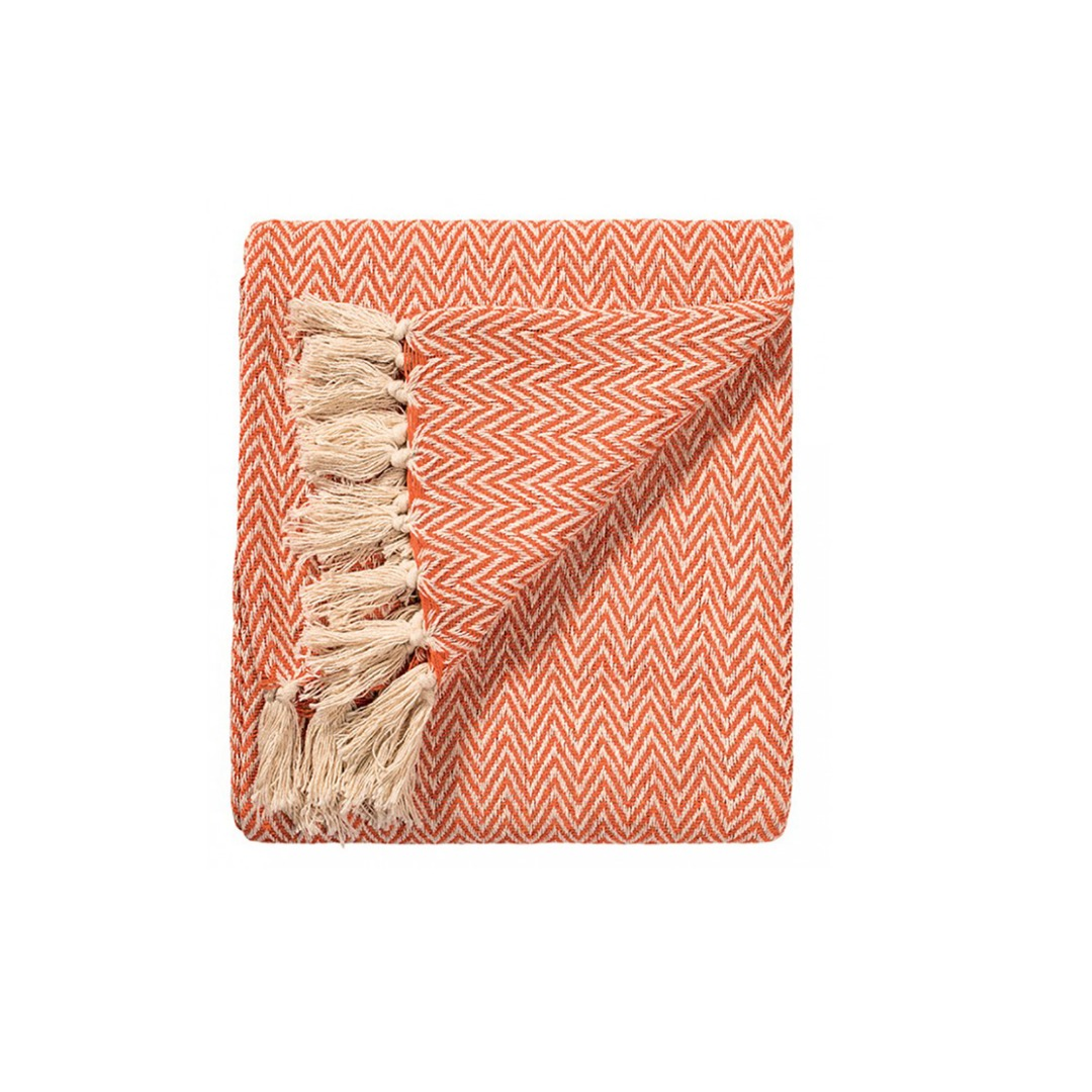 Orange Chevron Soft Cotton Handloom Blanket Throw