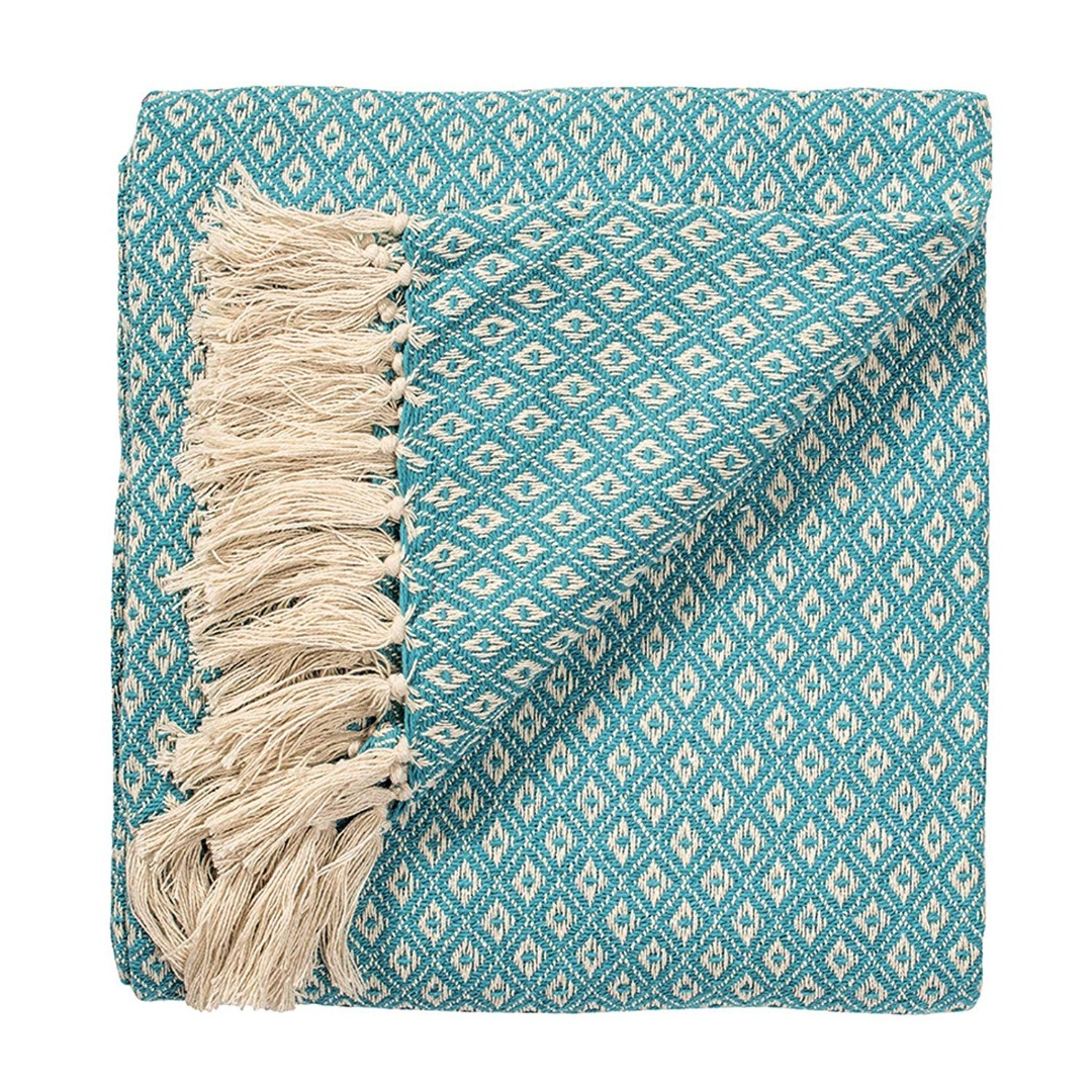 Turquoise Diamond Weave Soft Cotton Handloom Blanket Throw 130cm x 180cm.