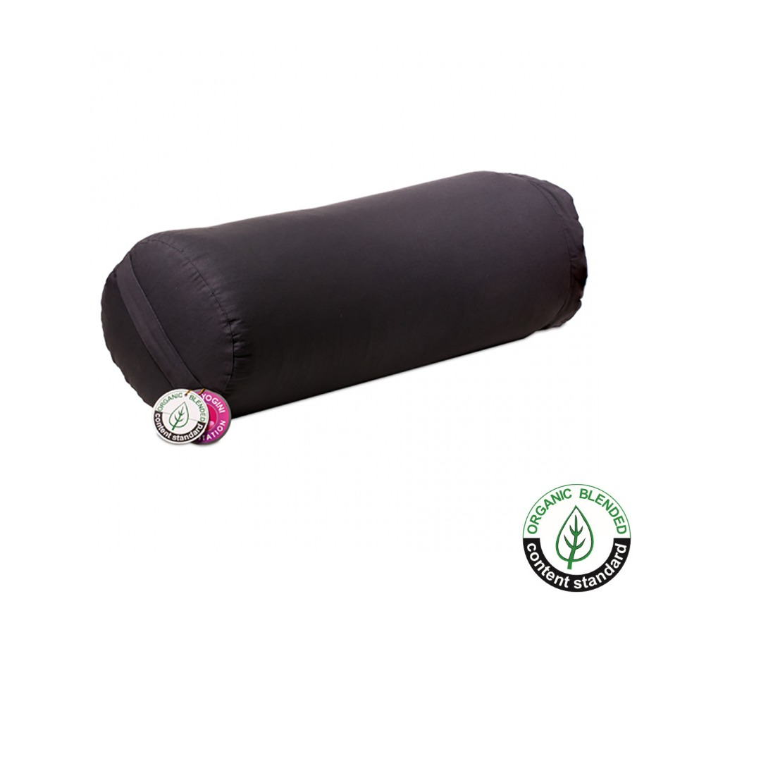 Charcoal Cylinder Bolster Cushion, Organic Cotton  Size 57cm x 22 cm