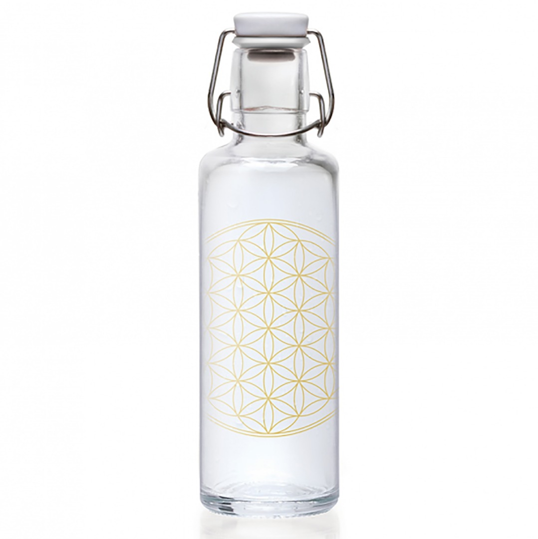Soulbottle Flower Of Life Glass Water Drinking Bottle. Top Quality Size 600ml