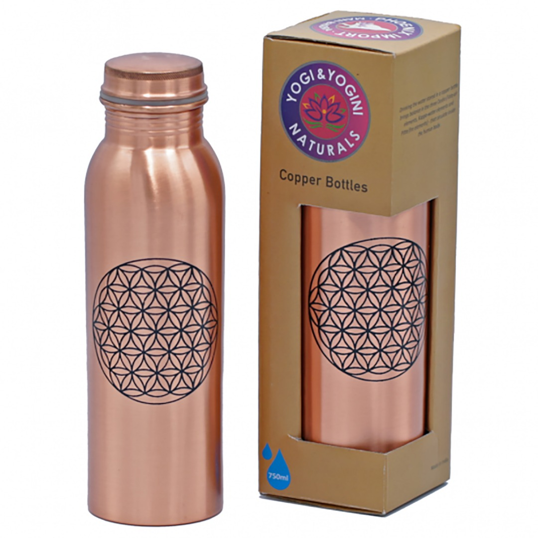 Copper Flower of Life Water Drinking Bottle. Ideal for Gym, Yoga Top Quality bottle Size 750ml