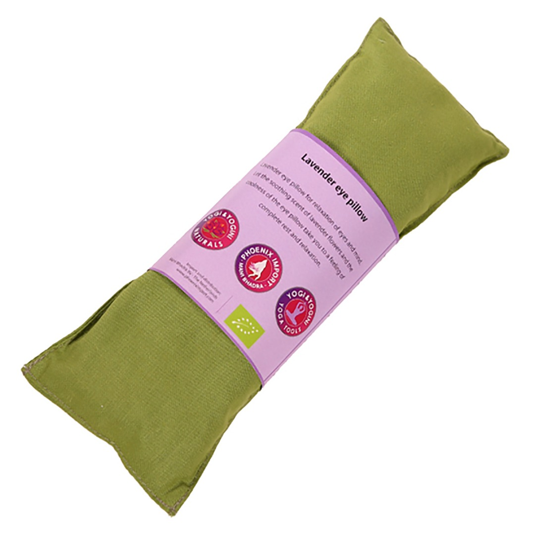 Olive Green Lavender Eye Pillow, Organic Cotton. Size 22cm x 8cm