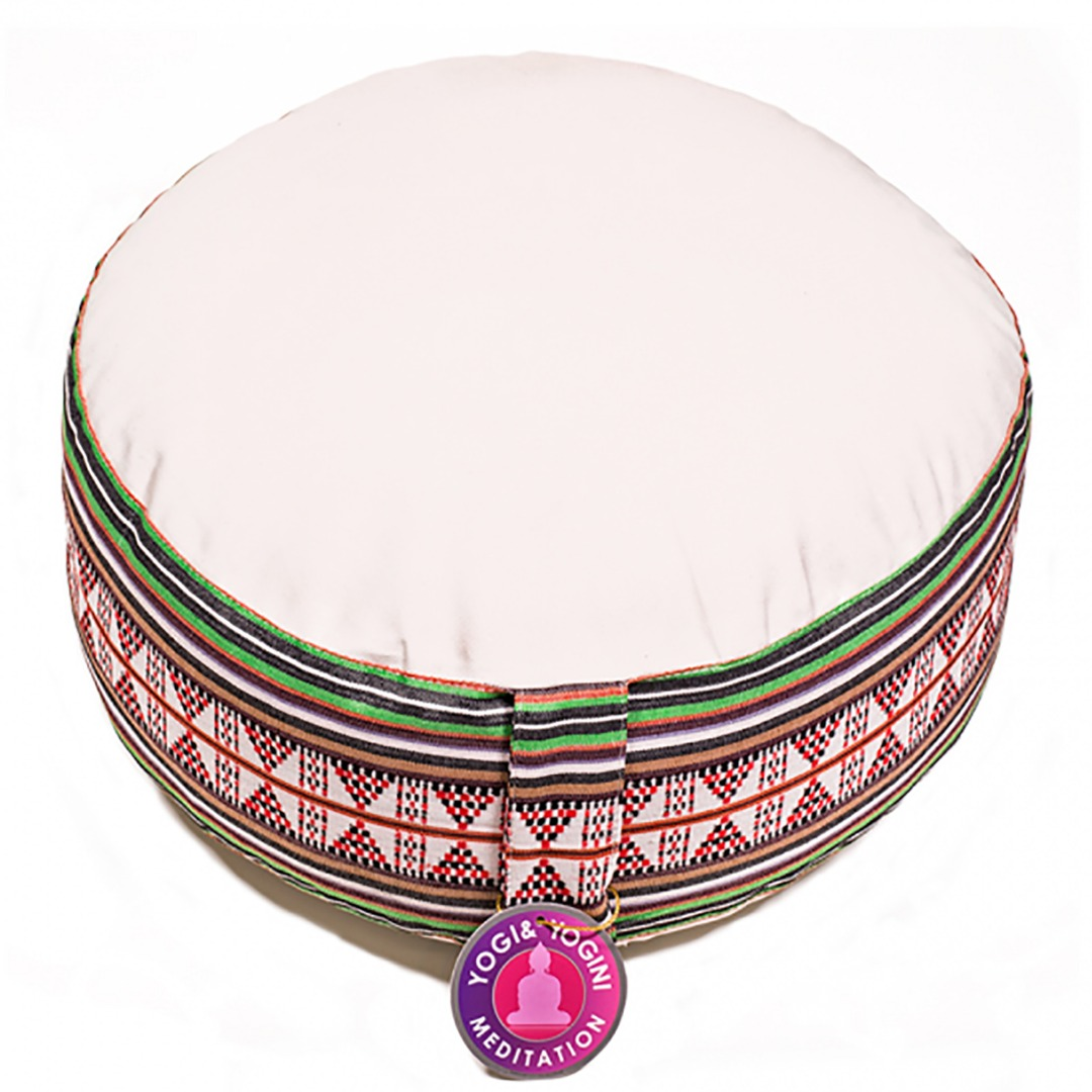 Round Meditation Cream and Tribal Pattern Cushion  Dimensions: 33cm 16 cm