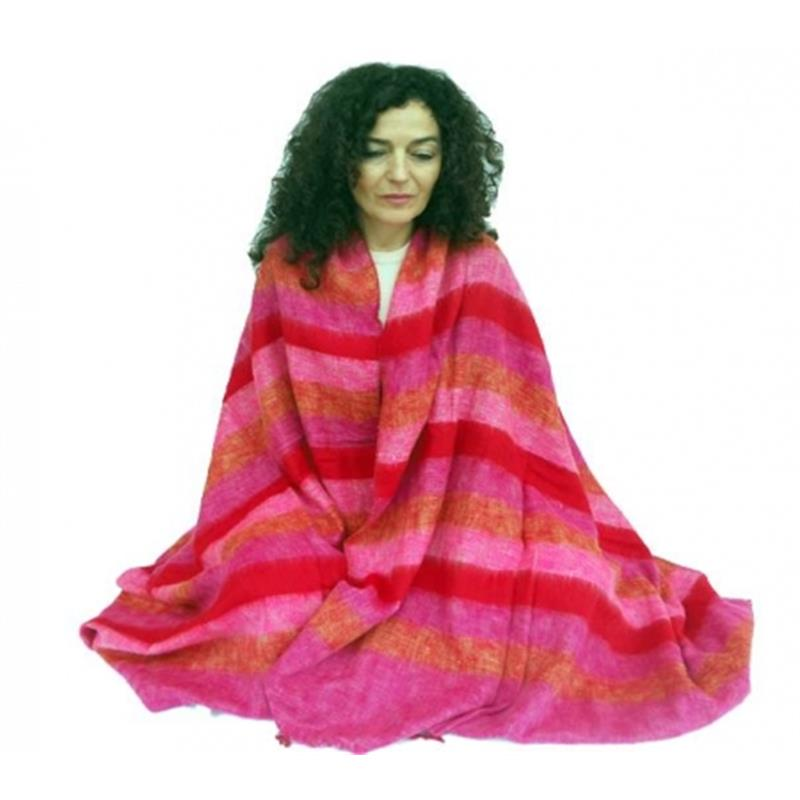 Meditation Yoga  shawl X-large red/pink/orange Rainbow Stripes   Size 115cm x 245cm