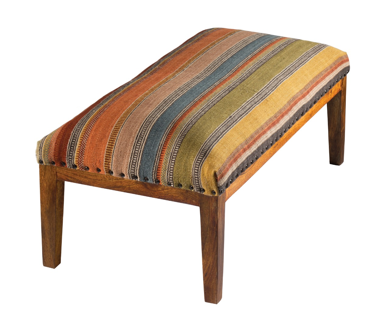 Hand Woven Stripe Kilim Sheesham Wood Bench Fair Trade