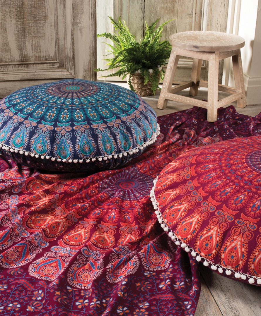 Brightly Coloured Fair Trade Boho Indian Floor Cushions  82cm Diameter
