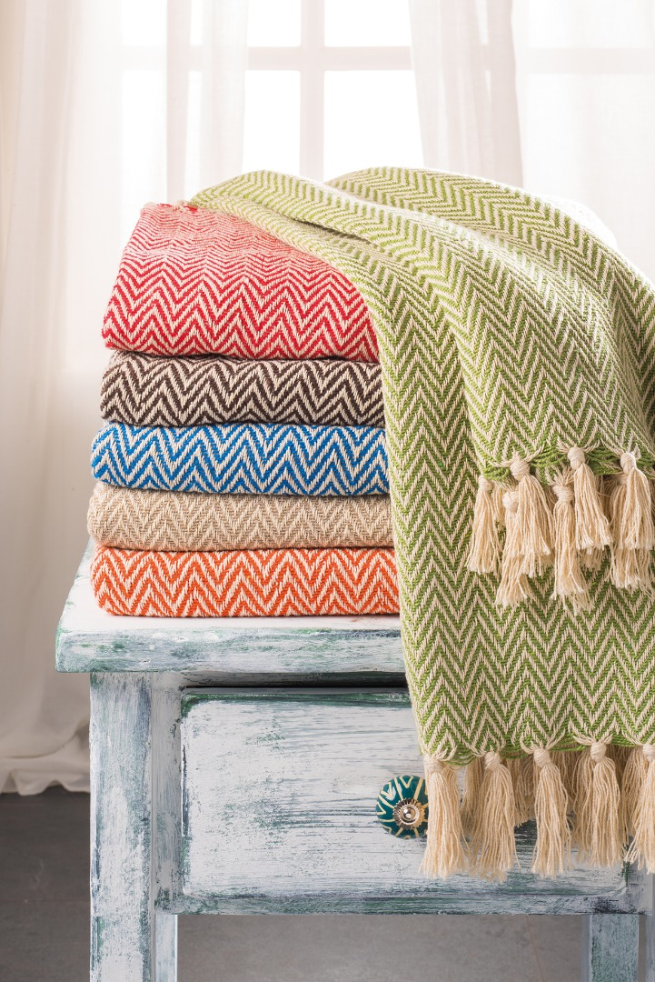 Chevron Soft Cotton Handloom Throw, A Fair Trade Blanket.